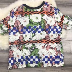 Topshop Size 10 Floral Print Short Sleeve Blouse